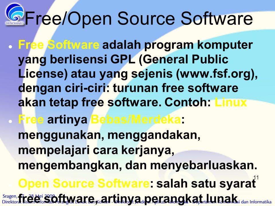 11 Free/Open Source Software  Free Software adalah program komputer yang berlisensi GPL (General Public License) atau yang sejenis (www.fsf.org), den