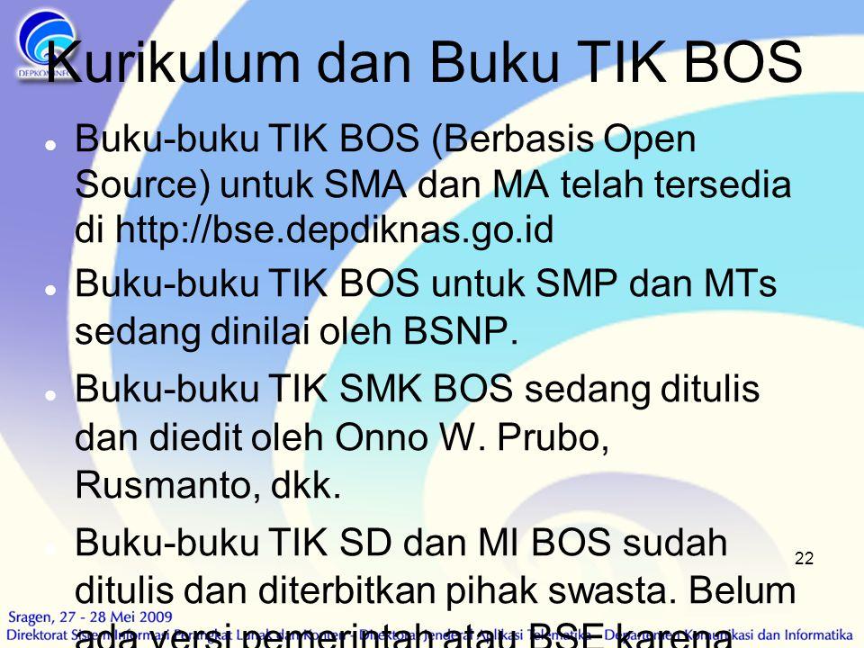 22 Kurikulum dan Buku TIK BOS  Buku-buku TIK BOS (Berbasis Open Source) untuk SMA dan MA telah tersedia di http://bse.depdiknas.go.id  Buku-buku TIK