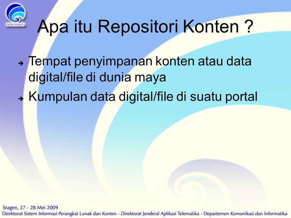 Apa itu Repositori Konten ?  Tempat penyimpanan konten atau data digital/file di dunia maya  Kumpulan data digital/file di suatu portal