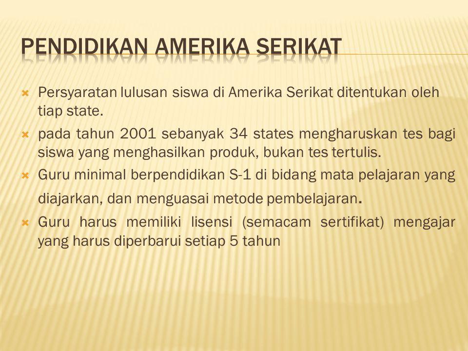  Persyaratan lulusan siswa di Amerika Serikat ditentukan oleh tiap state.