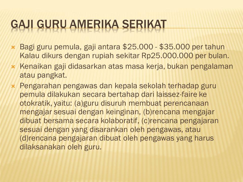  Bagi guru pemula, gaji antara $25.000 - $35.000 per tahun Kalau dikurs dengan rupiah sekitar Rp25.000.000 per bulan.