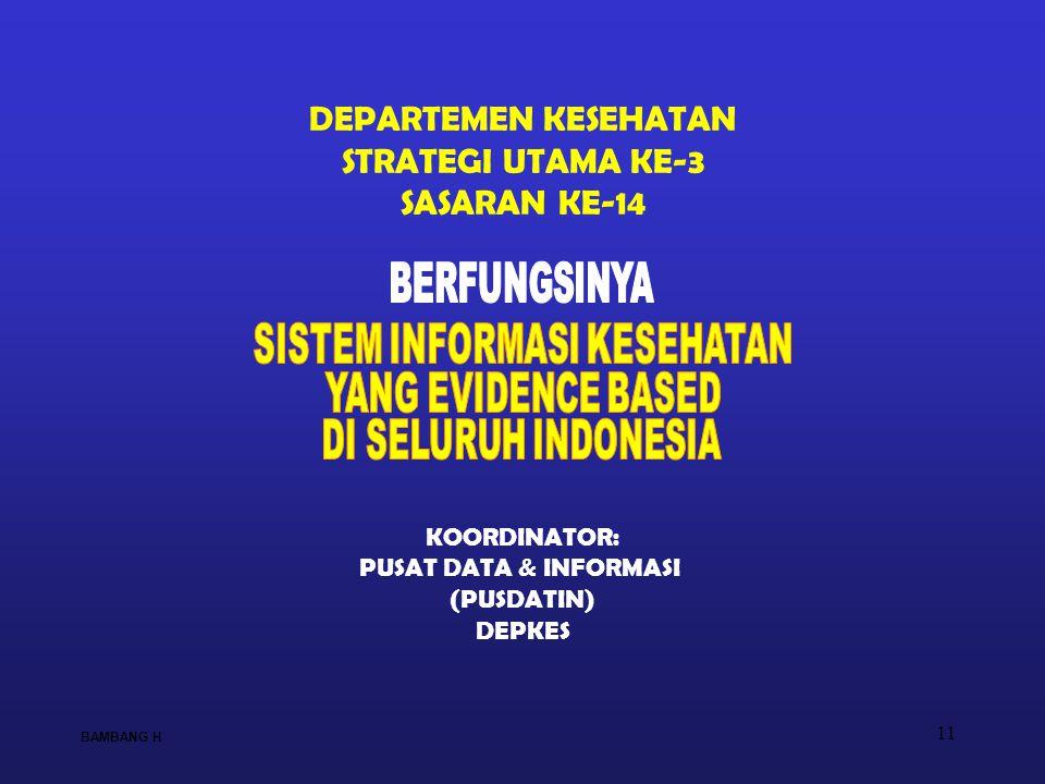 11 DEPARTEMEN KESEHATAN STRATEGI UTAMA KE-3 SASARAN KE-14 KOORDINATOR: PUSAT DATA & INFORMASI (PUSDATIN) DEPKES BAMBANG H