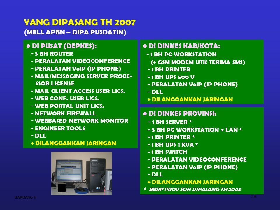 18 BAMBANG H YANG DIPASANG TH 2007 (MELL APBN – DIPA PUSDATIN) • DI DINKES KAB/KOTA: - 1 BH PC WORKSTATION (+ GSM MODEM UTK TERIMA SMS) - 1 BH PRINTER