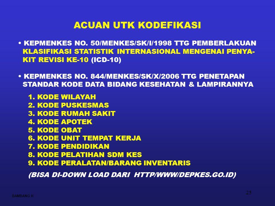 25 BAMBANG H ACUAN UTK KODEFIKASI • KEPMENKES NO. 50/MENKES/SK/I/1998 TTG PEMBERLAKUAN KLASIFIKASI STATISTIK INTERNASIONAL MENGENAI PENYA- KIT REVISI