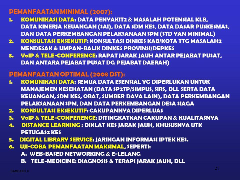 27 PEMANFAATAN MINIMAL (2007): 1.KOMUNIKASI DATA: DATA PENYAKIT2 & MASALAH POTENSIAL KLB, DATA KINERJA KEUANGAN (SAI), DATA SDM KES, DATA DASAR PUSKES