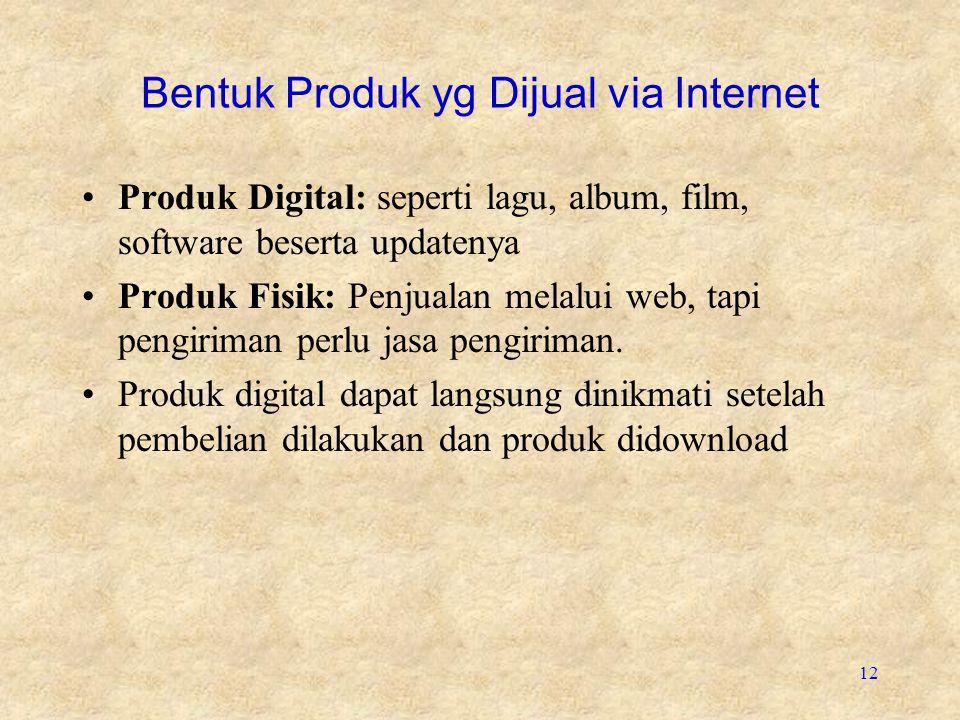 12 Bentuk Produk yg Dijual via Internet •Produk Digital: seperti lagu, album, film, software beserta updatenya •Produk Fisik: Penjualan melalui web, t