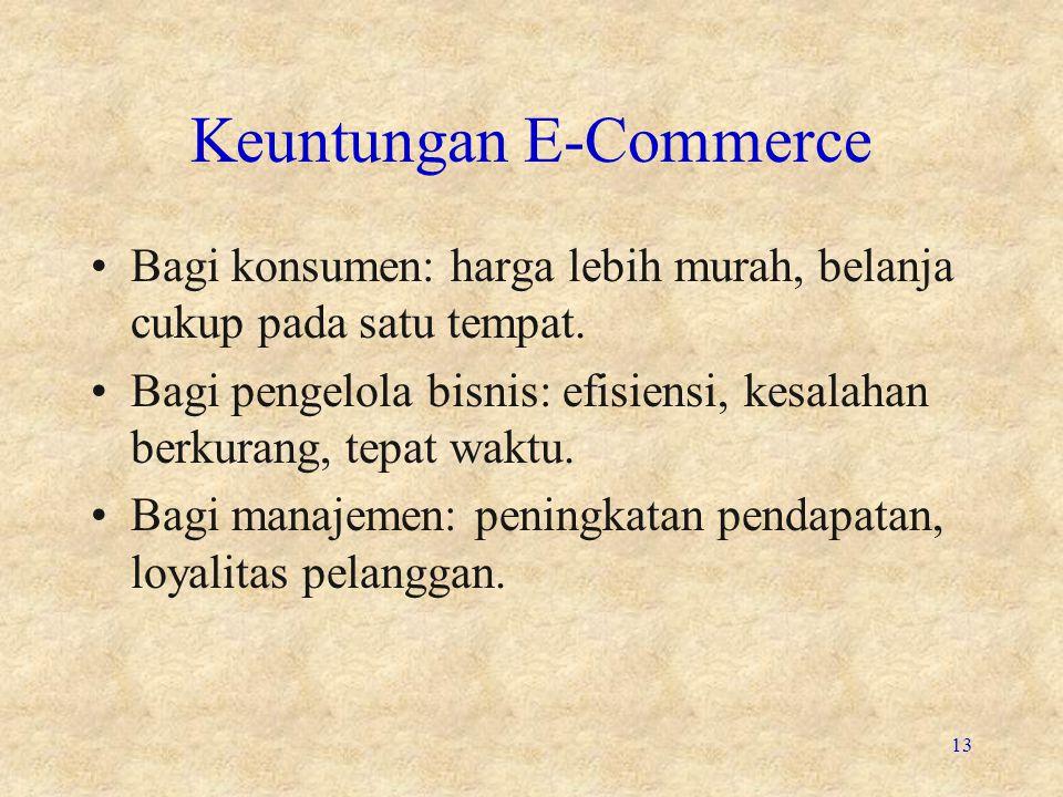 Keuntungan E-Commerce •Bagi konsumen: harga lebih murah, belanja cukup pada satu tempat. •Bagi pengelola bisnis: efisiensi, kesalahan berkurang, tepat