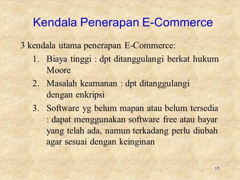 15 Kendala Penerapan E-Commerce 3 kendala utama penerapan E-Commerce: 1.Biaya tinggi : dpt ditanggulangi berkat hukum Moore 2.Masalah keamanan : dpt d