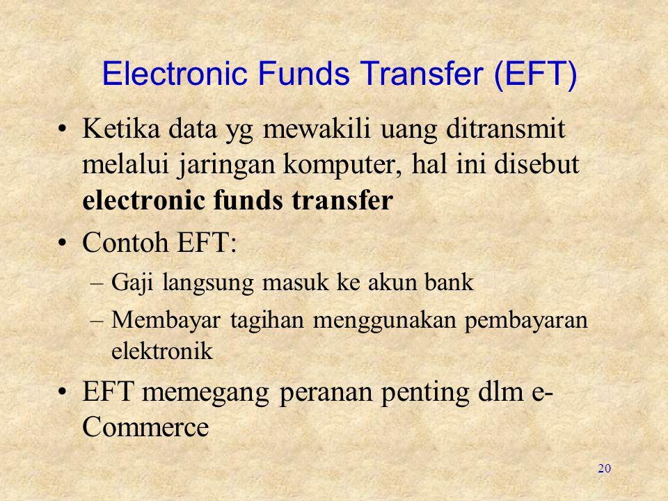 20 Electronic Funds Transfer (EFT) •Ketika data yg mewakili uang ditransmit melalui jaringan komputer, hal ini disebut electronic funds transfer •Cont