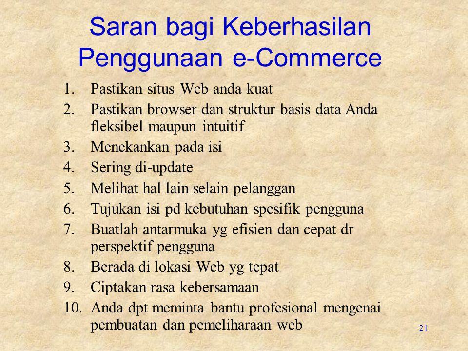 21 Saran bagi Keberhasilan Penggunaan e-Commerce 1.Pastikan situs Web anda kuat 2.Pastikan browser dan struktur basis data Anda fleksibel maupun intui