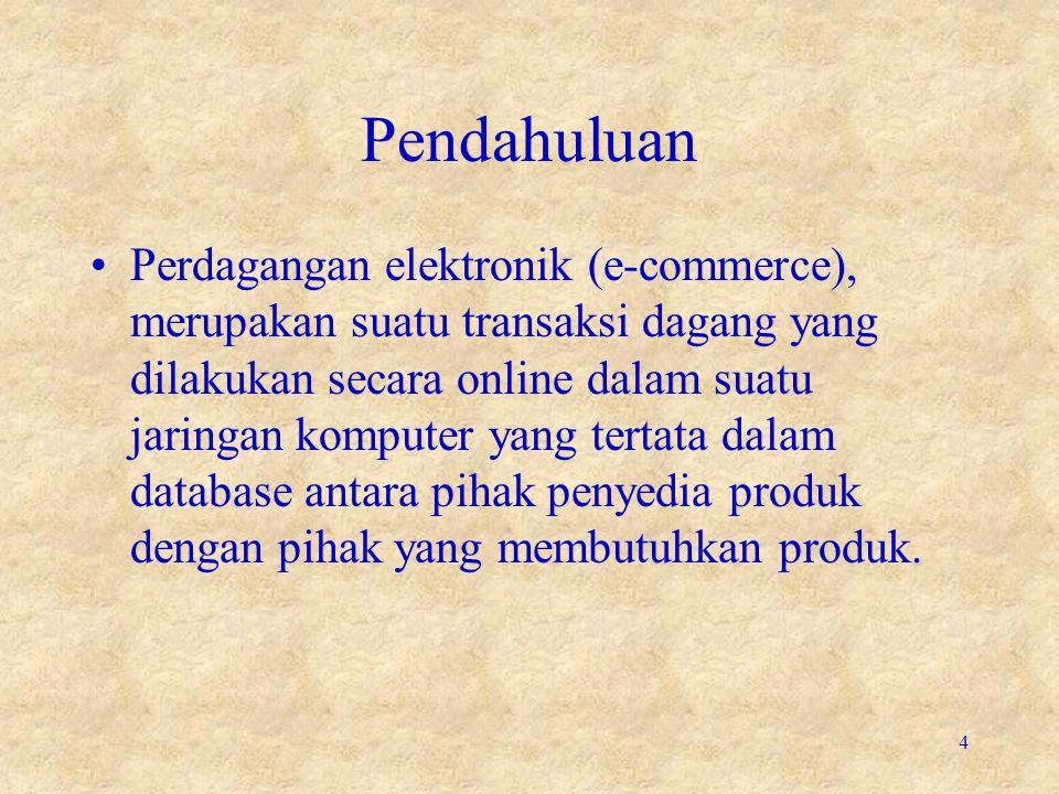 Pendahuluan •Perdagangan elektronik (e-commerce), merupakan suatu transaksi dagang yang dilakukan secara online dalam suatu jaringan komputer yang ter