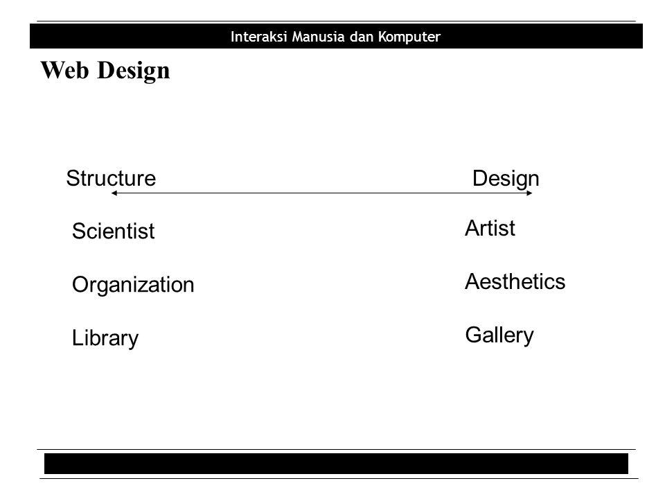 Interaksi Manusia dan Komputer Web Design StructureDesign Scientist Organization Library Artist Aesthetics Gallery