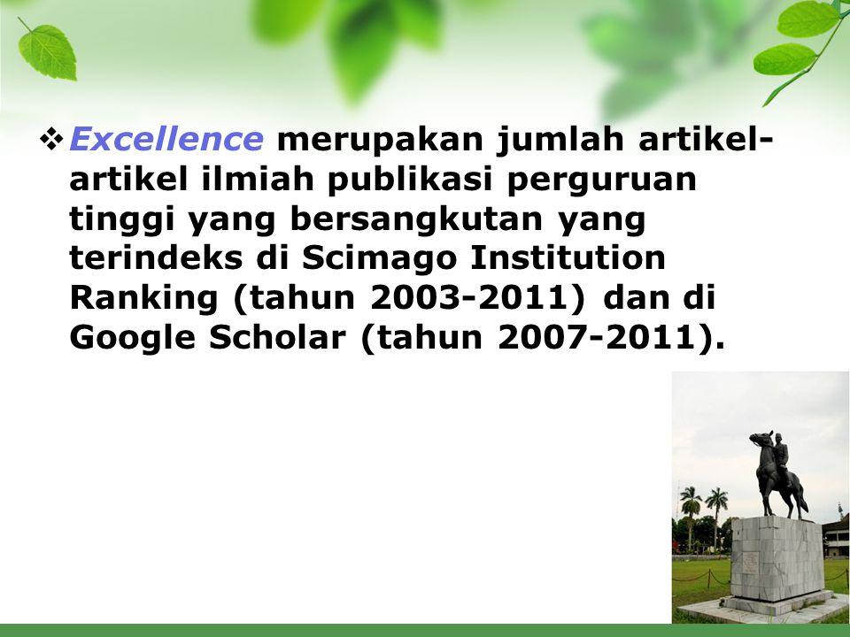 Excellence merupakan jumlah artikel- artikel ilmiah publikasi perguruan tinggi yang bersangkutan yang terindeks di Scimago Institution Ranking (tahun 2003-2011) dan di Google Scholar (tahun 2007-2011).