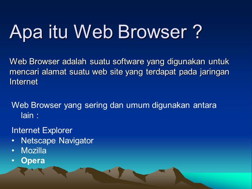 Apa itu Web Browser ? Web Browser adalah suatu software yang digunakan untuk mencari alamat suatu web site yang terdapat pada jaringan Internet Web Br