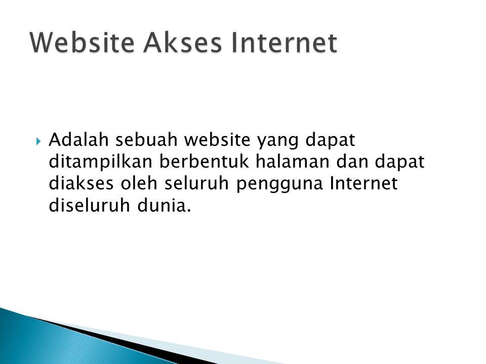  Adalah sebuah website yang dapat ditampilkan berbentuk halaman dan dapat diakses oleh seluruh pengguna Internet diseluruh dunia.