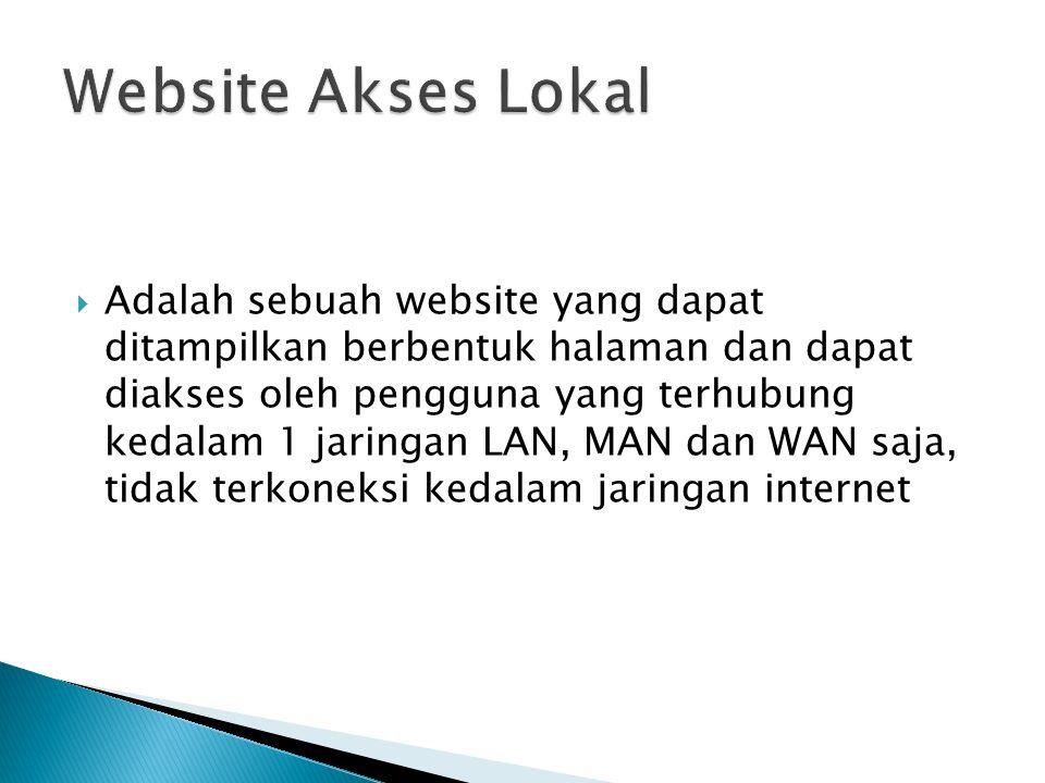  Adalah sebuah website yang dapat ditampilkan berbentuk halaman dan dapat diakses oleh pengguna yang terhubung kedalam 1 jaringan LAN, MAN dan WAN saja, tidak terkoneksi kedalam jaringan internet