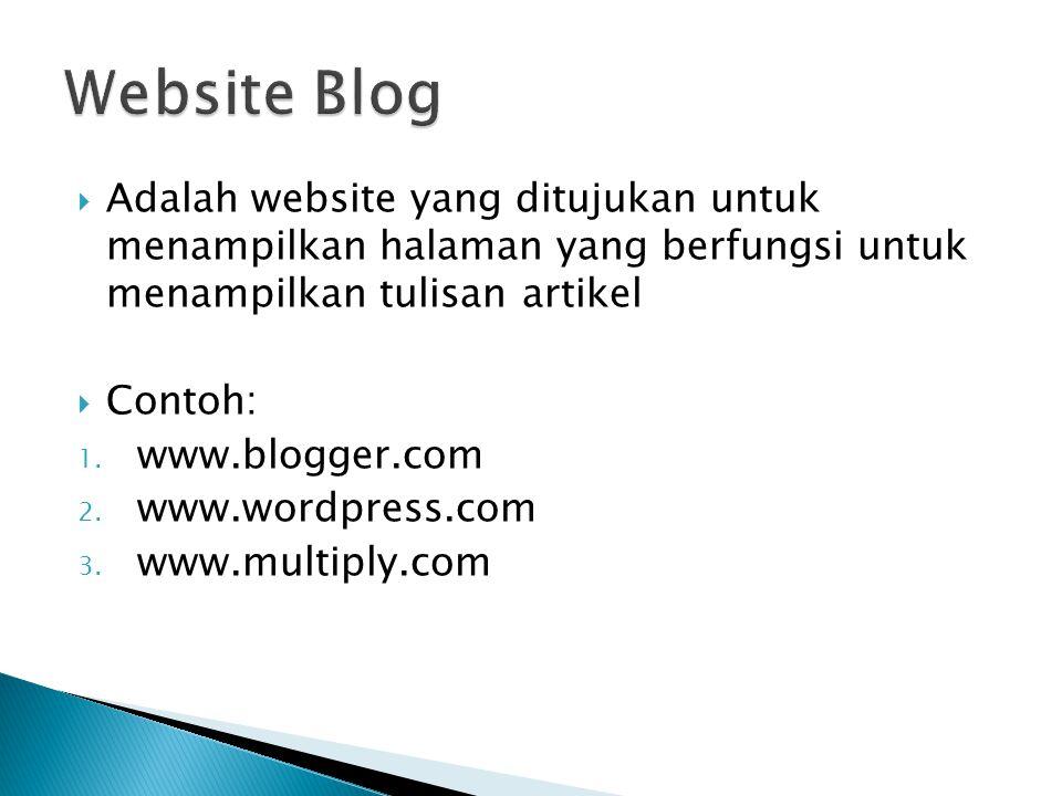  Adalah website yang ditujukan untuk menampilkan halaman yang berfungsi untuk menampilkan tulisan artikel  Contoh: 1.
