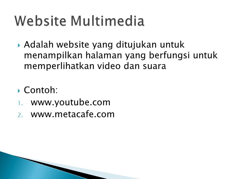  Adalah website yang ditujukan untuk menampilkan halaman yang berfungsi untuk memperlihatkan video dan suara  Contoh: 1.