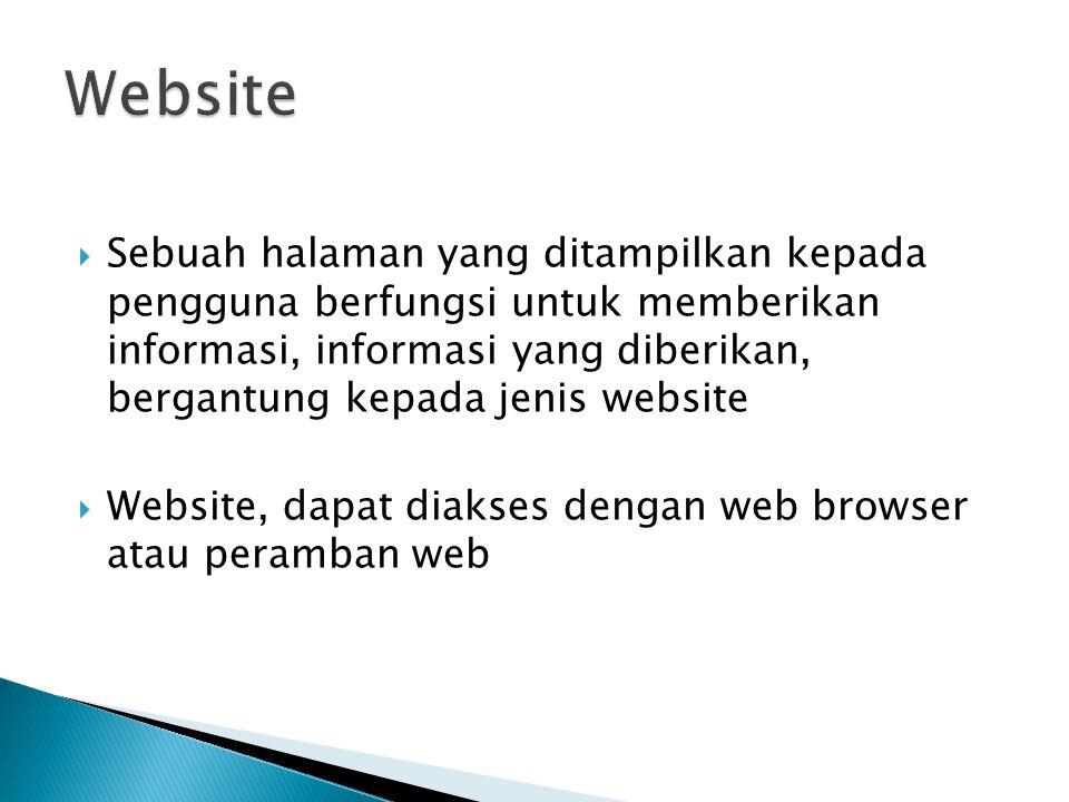  Sebuah halaman yang ditampilkan kepada pengguna berfungsi untuk memberikan informasi, informasi yang diberikan, bergantung kepada jenis website  Website, dapat diakses dengan web browser atau peramban web