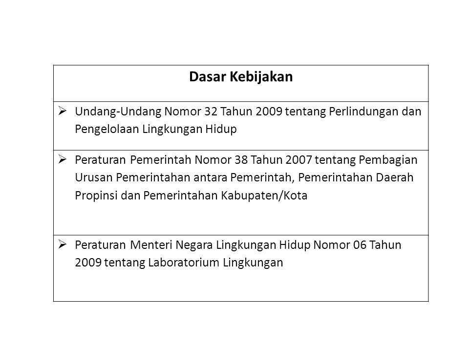 Dasar Kebijakan  Undang-Undang Nomor 32 Tahun 2009 tentang Perlindungan dan Pengelolaan Lingkungan Hidup  Peraturan Pemerintah Nomor 38 Tahun 2007 t