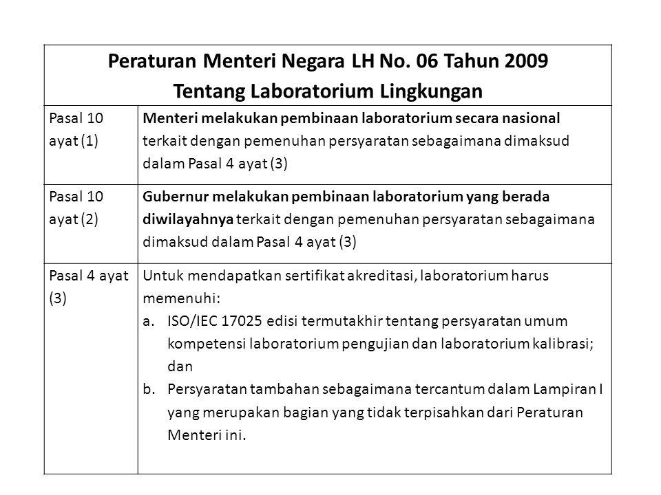 Peraturan Menteri Negara LH No. 06 Tahun 2009 Tentang Laboratorium Lingkungan Pasal 10 ayat (1) Menteri melakukan pembinaan laboratorium secara nasion