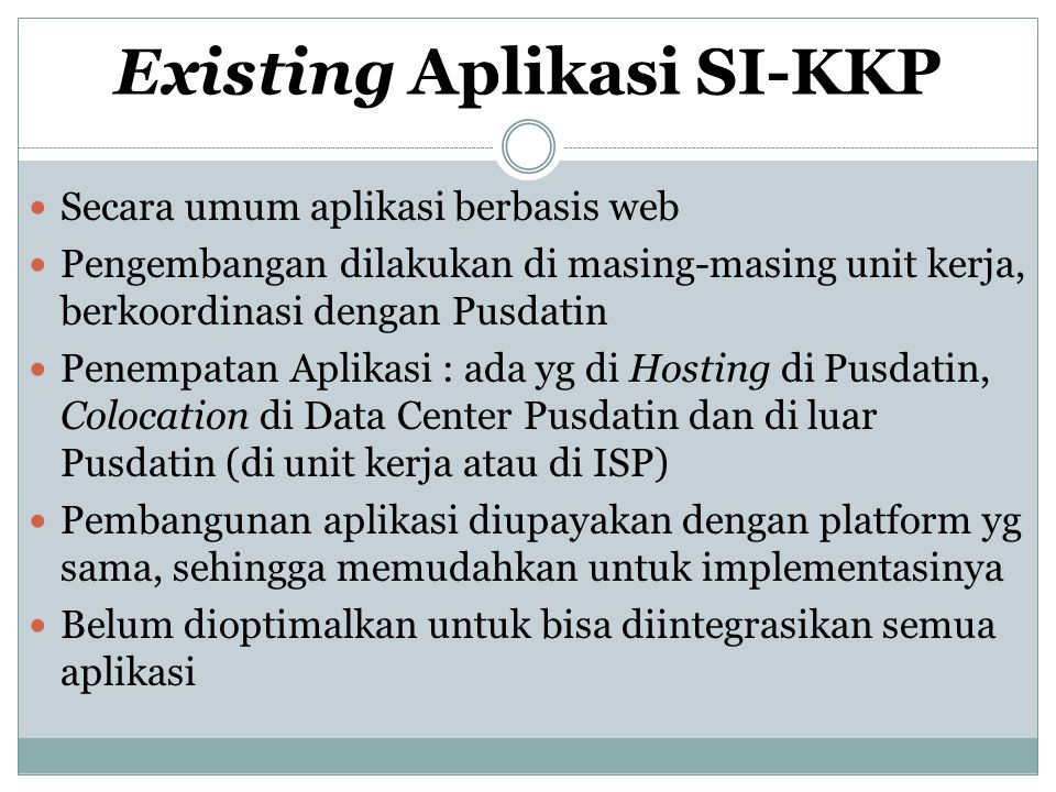 Struktur Aplikasi SI-KKP Aplikasi SI-KKP Sistem Informasi Publik Sistem Informasi Kedinasan Website KKP www.kkp.go.id Simpeg KKP www.ropeg.kkp.go.id/s