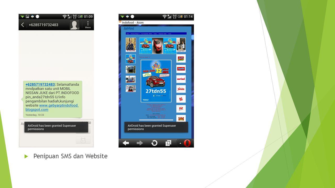  Penipuan SMS dan Website