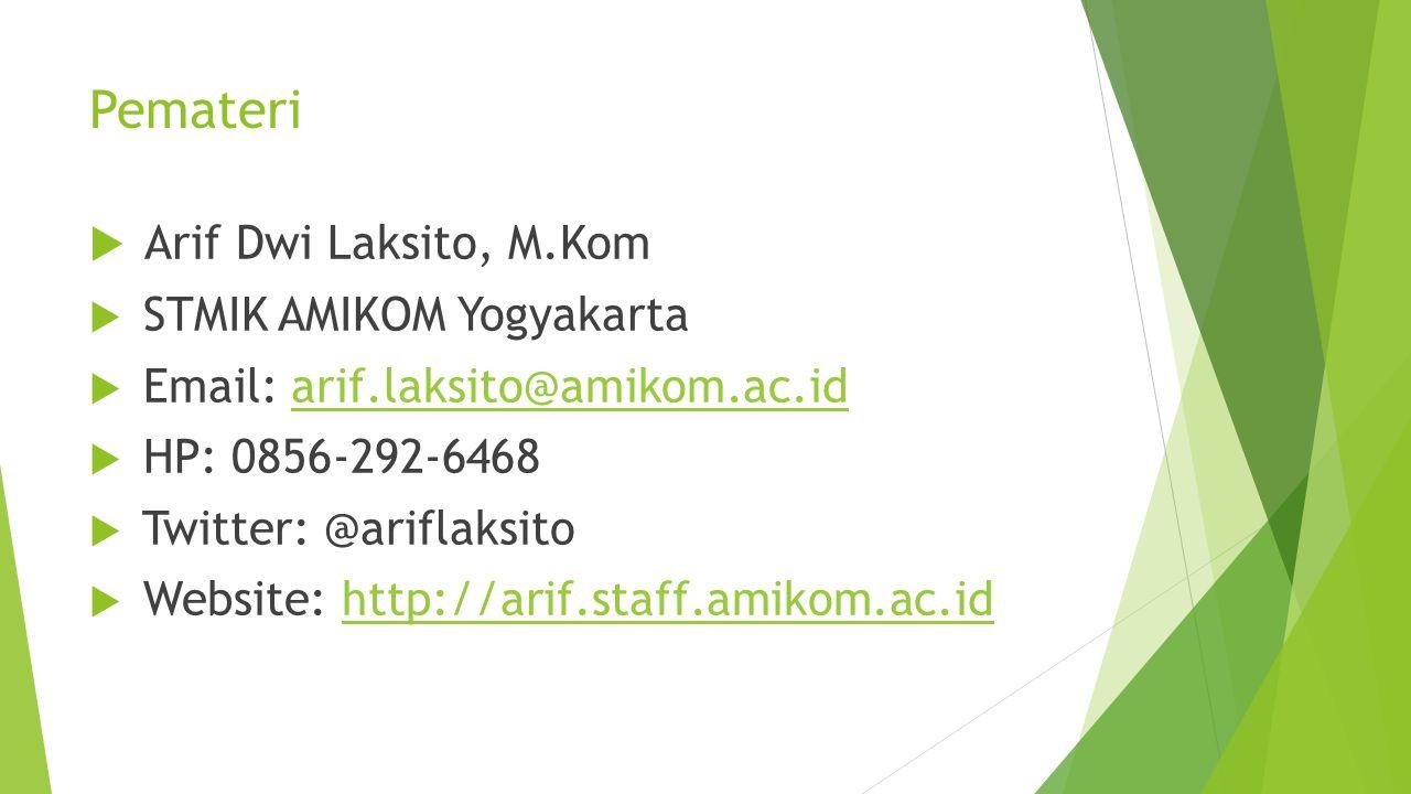 Pemateri  Arif Dwi Laksito, M.Kom  STMIK AMIKOM Yogyakarta  Email: arif.laksito@amikom.ac.idarif.laksito@amikom.ac.id  HP: 0856-292-6468  Twitter: @ariflaksito  Website: http://arif.staff.amikom.ac.idhttp://arif.staff.amikom.ac.id