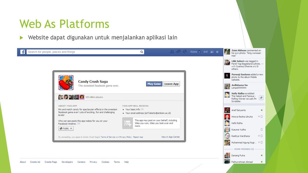 Web As Platforms  Website dapat digunakan untuk menjalankan aplikasi lain