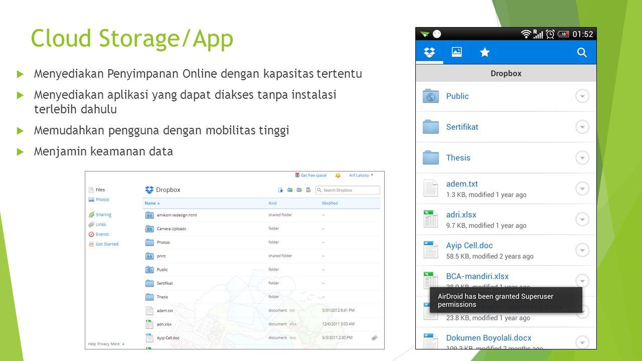 Cloud Storage/App  Menyediakan Penyimpanan Online dengan kapasitas tertentu  Menyediakan aplikasi yang dapat diakses tanpa instalasi terlebih dahulu  Memudahkan pengguna dengan mobilitas tinggi  Menjamin keamanan data