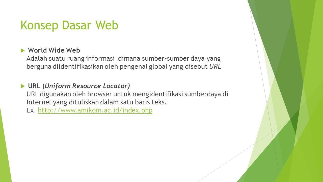 Konsep Dasar Web  World Wide Web Adalah suatu ruang informasi dimana sumber-sumber daya yang berguna diidentifikasikan oleh pengenal global yang disebut URL  URL (Uniform Resource Locator) URL digunakan oleh browser untuk mengidentifikasi sumberdaya di Internet yang dituliskan dalam satu baris teks.