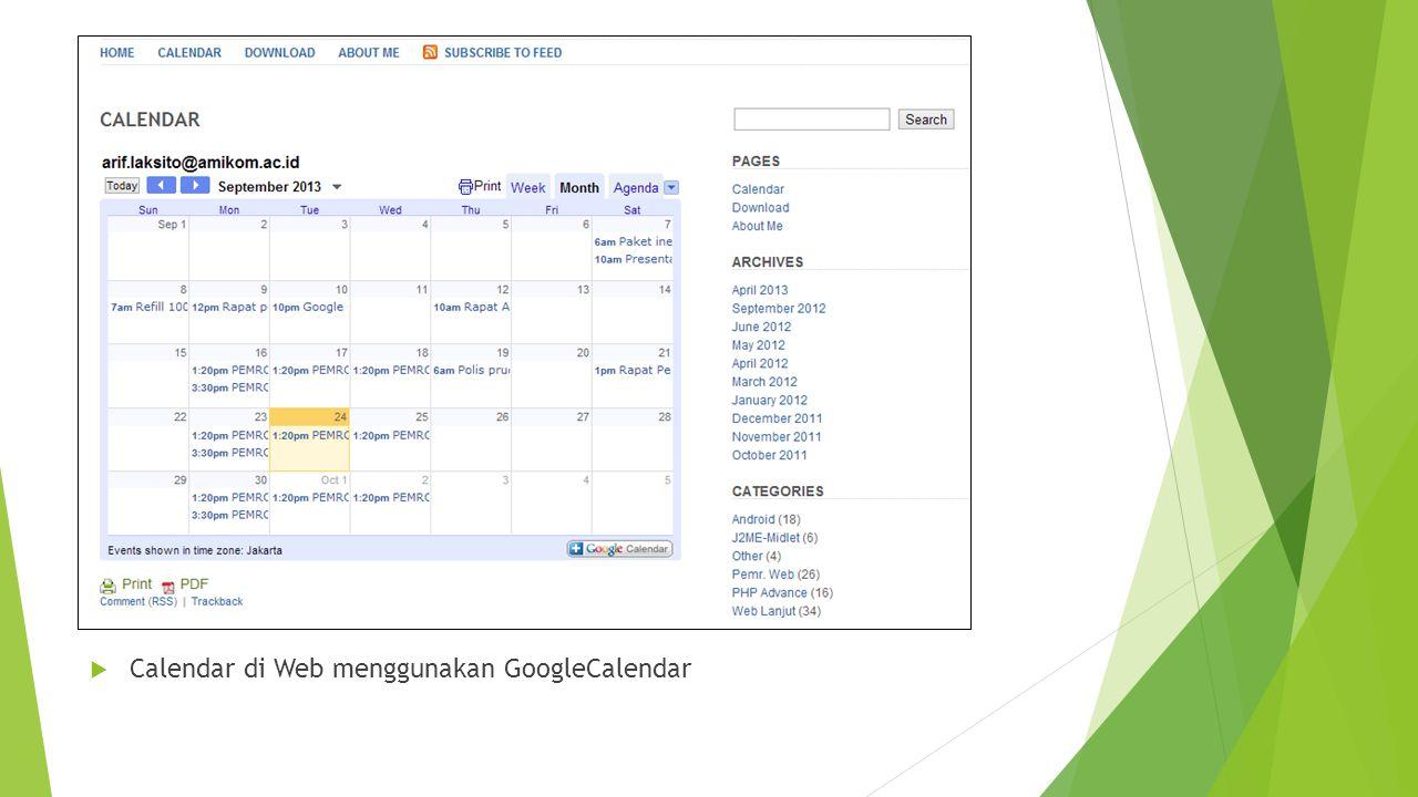  Calendar di Web menggunakan GoogleCalendar