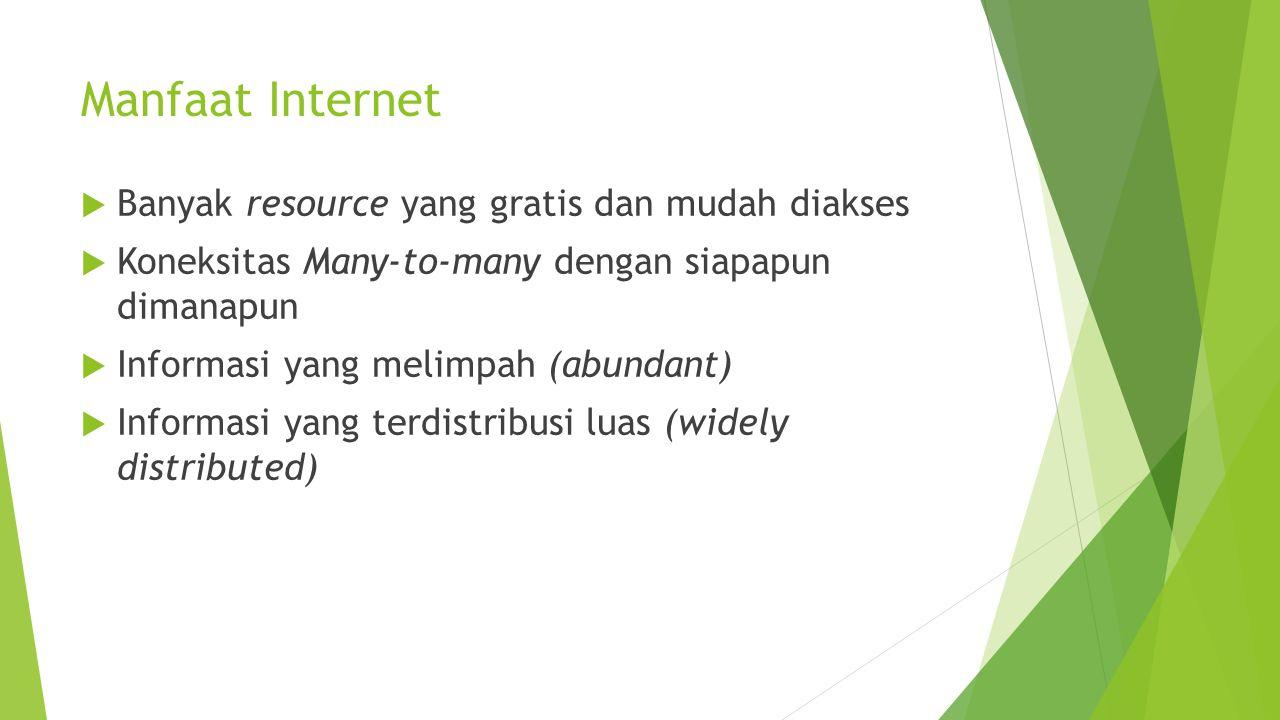 Manfaat Internet  Banyak resource yang gratis dan mudah diakses  Koneksitas Many-to-many dengan siapapun dimanapun  Informasi yang melimpah (abunda