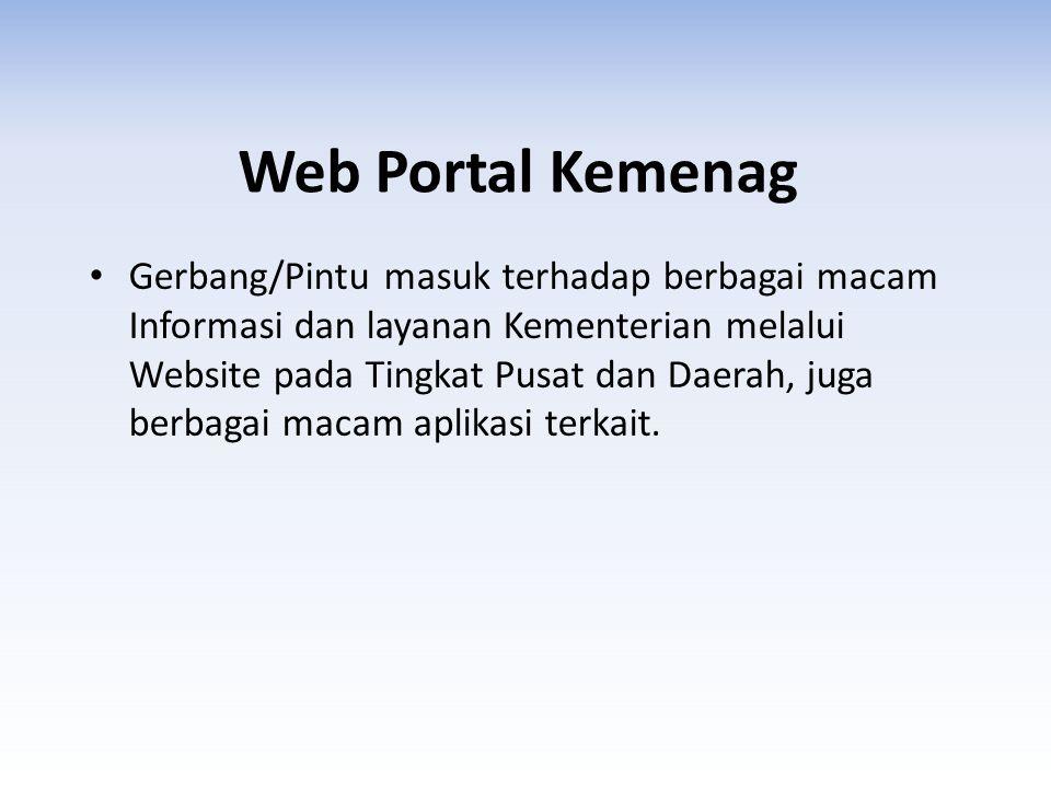 Web Portal Kemenag • Gerbang/Pintu masuk terhadap berbagai macam Informasi dan layanan Kementerian melalui Website pada Tingkat Pusat dan Daerah, juga berbagai macam aplikasi terkait.