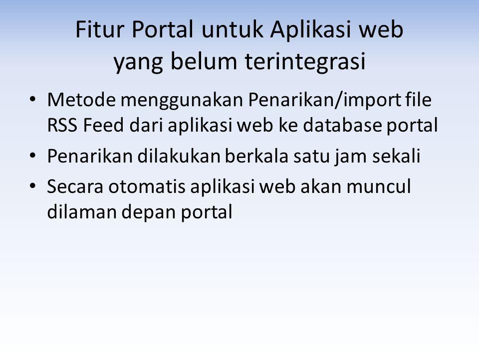 Fitur Portal untuk Aplikasi web yang belum terintegrasi • Metode menggunakan Penarikan/import file RSS Feed dari aplikasi web ke database portal • Pen