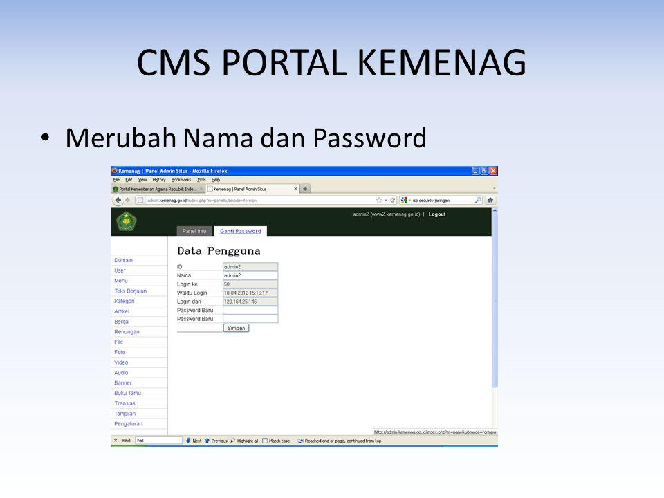 • Merubah Nama dan Password