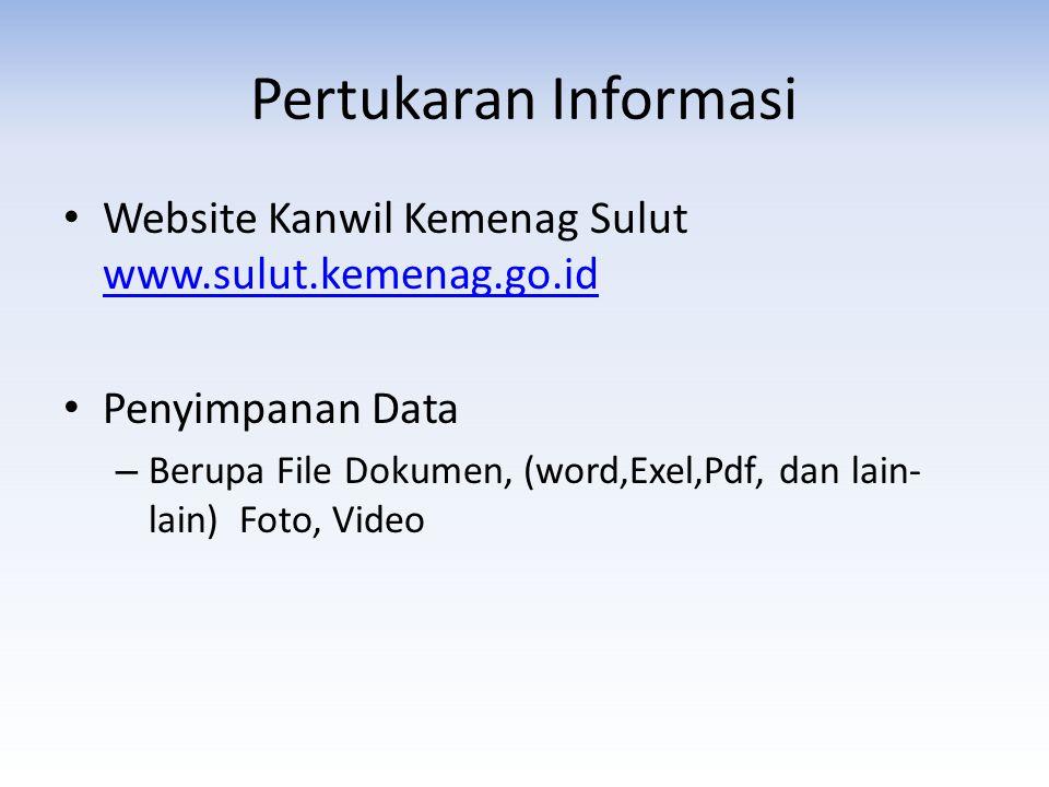 Pertukaran Informasi • Website Kanwil Kemenag Sulut www.sulut.kemenag.go.id www.sulut.kemenag.go.id • Penyimpanan Data – Berupa File Dokumen, (word,Exel,Pdf, dan lain- lain) Foto, Video