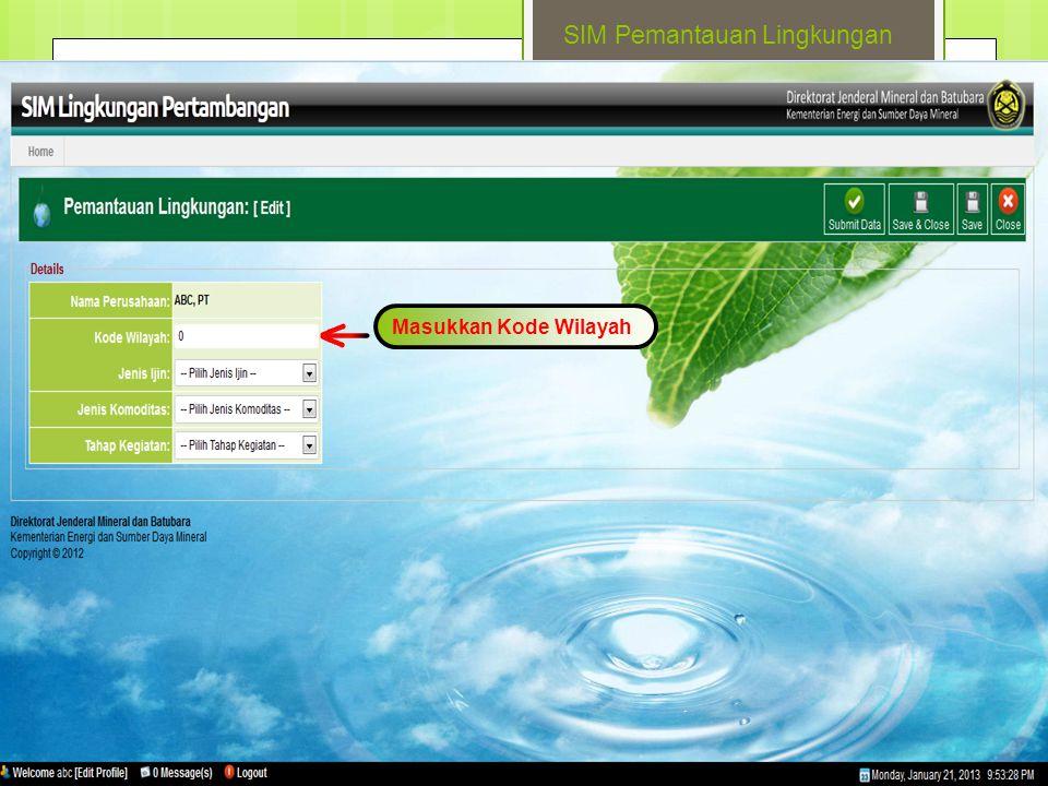 SIM Pemantauan Lingkungan Masukkan Kode Wilayah