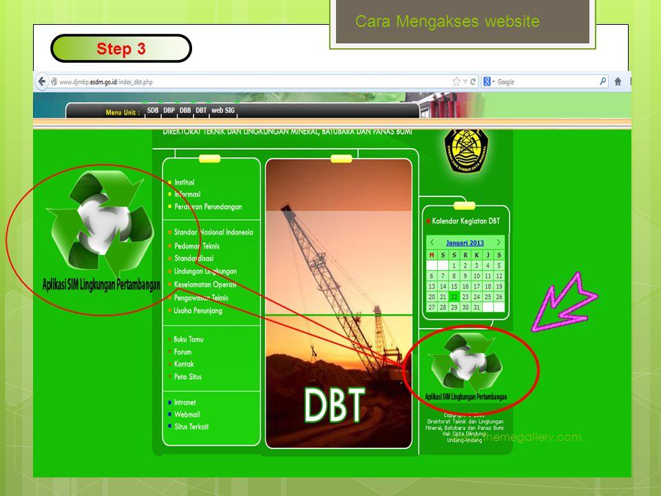 SIM Pemantauan Lingkungan Pilih Tahap Kegiatan -Eksplorasi -Kontruksi -Operasi Produksi