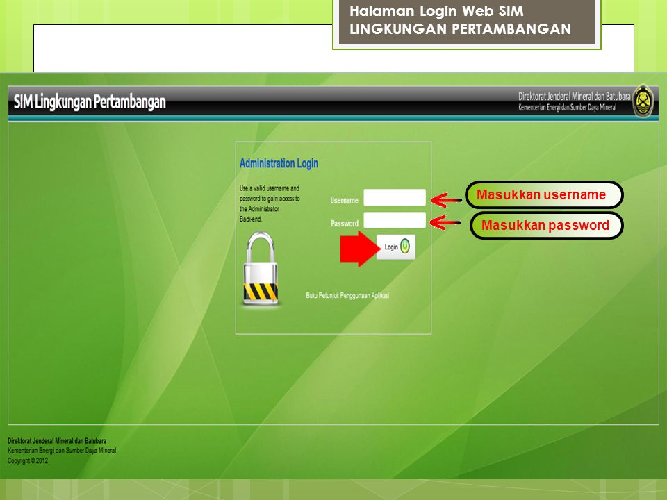 Halaman Login Web SIM LINGKUNGAN PERTAMBANGAN Masukkan username Masukkan password