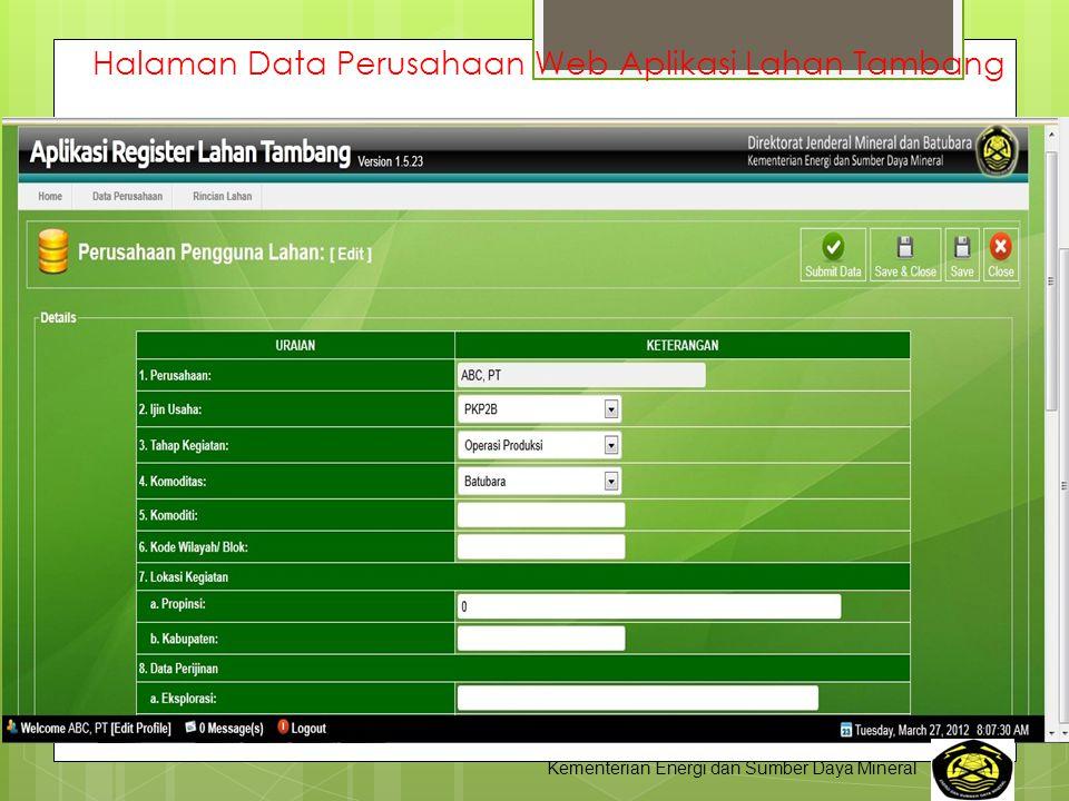 Halaman Data Perusahaan Web Aplikasi Lahan Tambang Kementerian Energi dan Sumber Daya Mineral