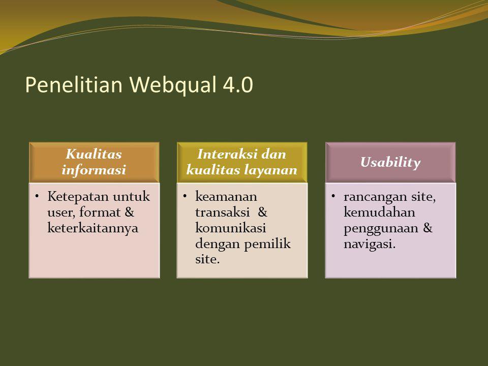 Penelitian Webqual 4.0 Kualitas informasi •Ketepatan untuk user, format & keterkaitannya Interaksi dan kualitas layanan •keamanan transaksi & komunika