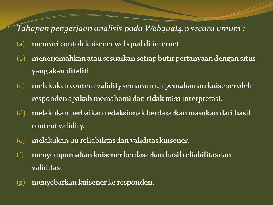 Tahapan pengerjaan analisis pada Webqual4.0 secara umum : (a) mencari contoh kuisener webqual di internet (b) menerjemahkan atau sesuaikan setiap buti