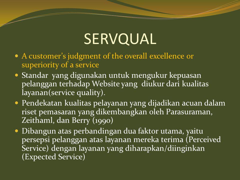 SERVQUAL  A customer's judgment of the overall excellence or superiority of a service  Standar yang digunakan untuk mengukur kepuasan pelanggan terh