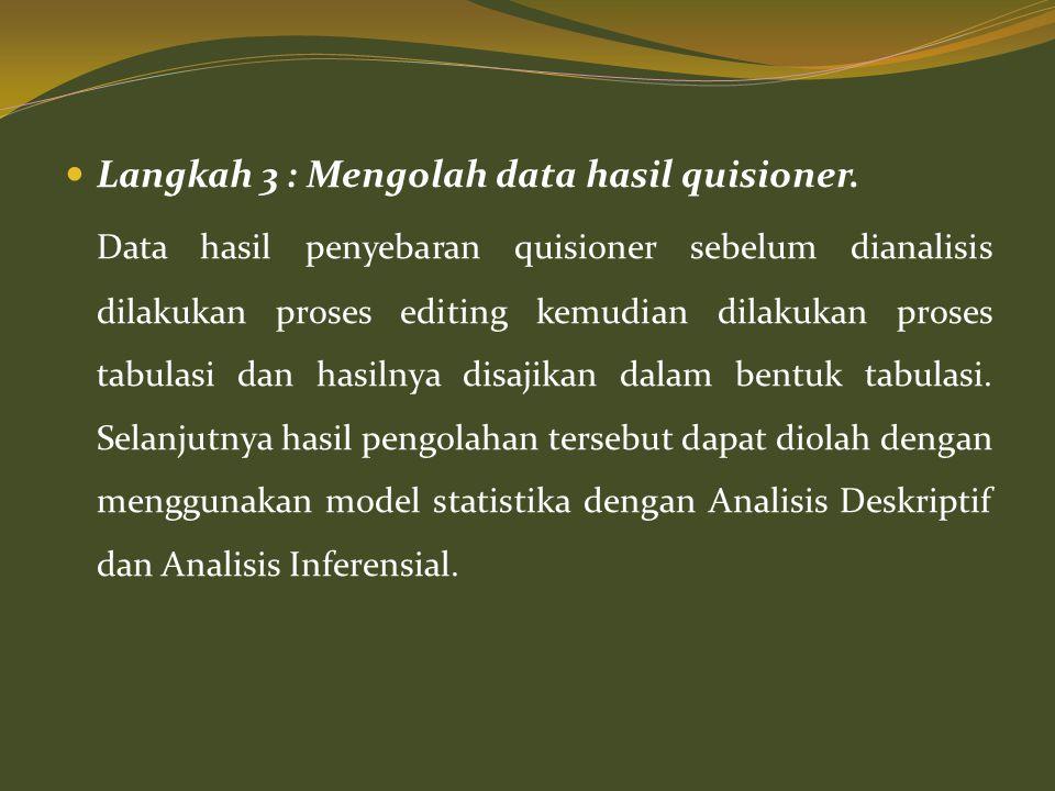  Langkah 3 : Mengolah data hasil quisioner. Data hasil penyebaran quisioner sebelum dianalisis dilakukan proses editing kemudian dilakukan proses tab