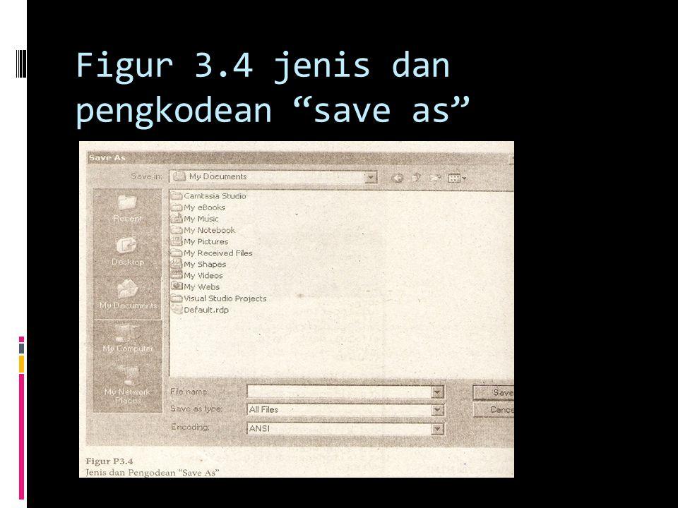 Figur 3.4 jenis dan pengkodean save as