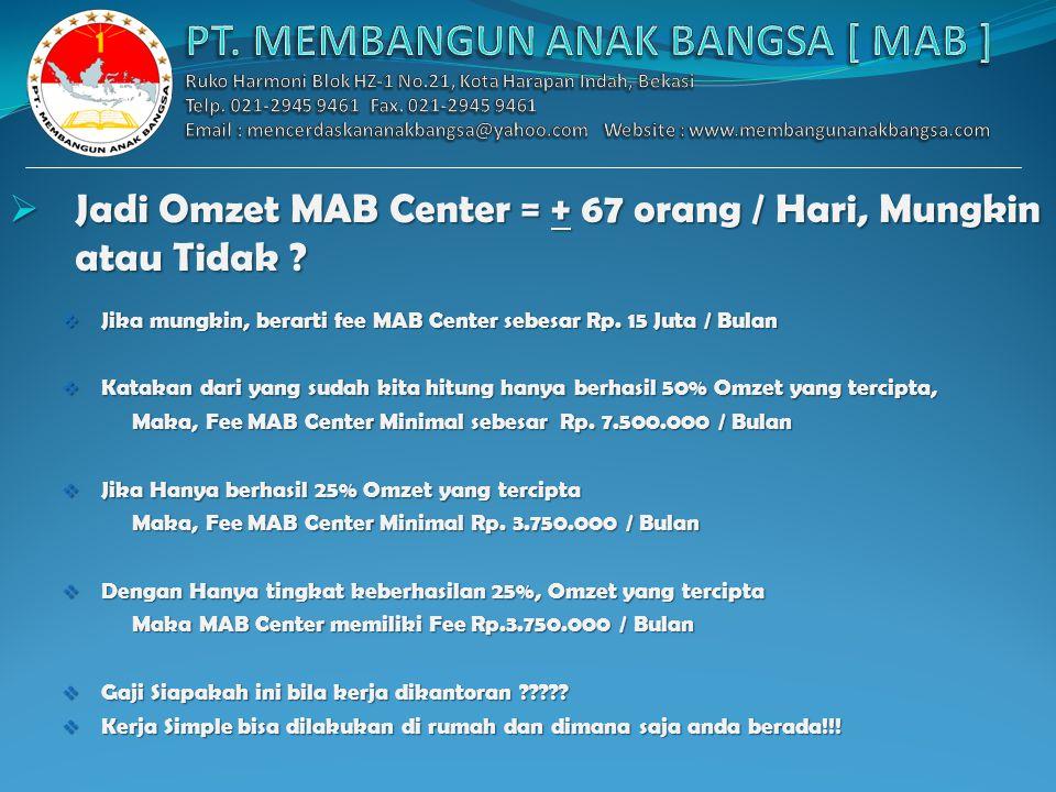 Questions  Apakah Omzet MAB Center 1000 Paket/ Hari, Sulit ? Mari Kita Hitung :  Jika MAB Center bergabung Rp. 310.000  Maka Mengajak 32 Orang lang