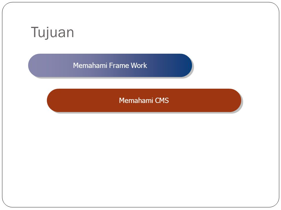 Tujuan Memahami Frame Work Memahami CMS