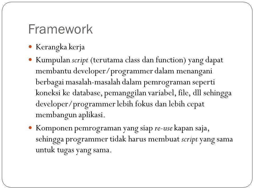 Framework  Kerangka kerja  Kumpulan script (terutama class dan function) yang dapat membantu developer/programmer dalam menangani berbagai masalah-masalah dalam pemrograman seperti koneksi ke database, pemanggilan variabel, file, dll sehingga developer/programmer lebih fokus dan lebih cepat membangun aplikasi.