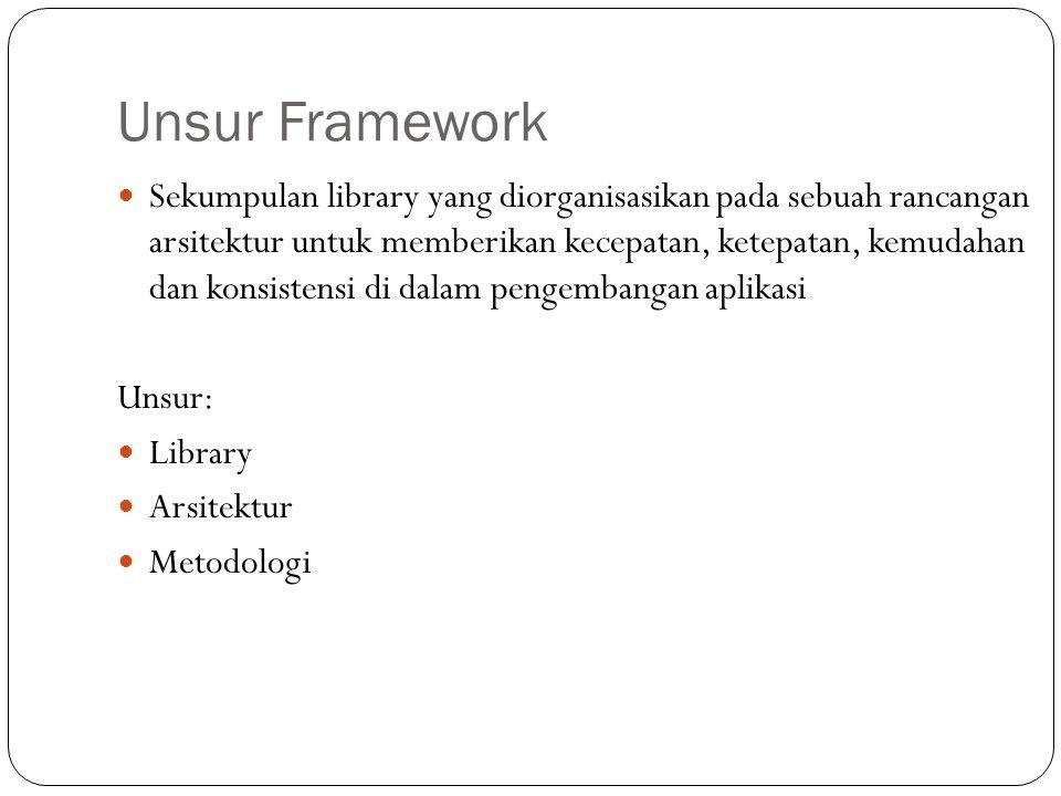 Unsur Framework  Sekumpulan library yang diorganisasikan pada sebuah rancangan arsitektur untuk memberikan kecepatan, ketepatan, kemudahan dan konsistensi di dalam pengembangan aplikasi Unsur:  Library  Arsitektur  Metodologi